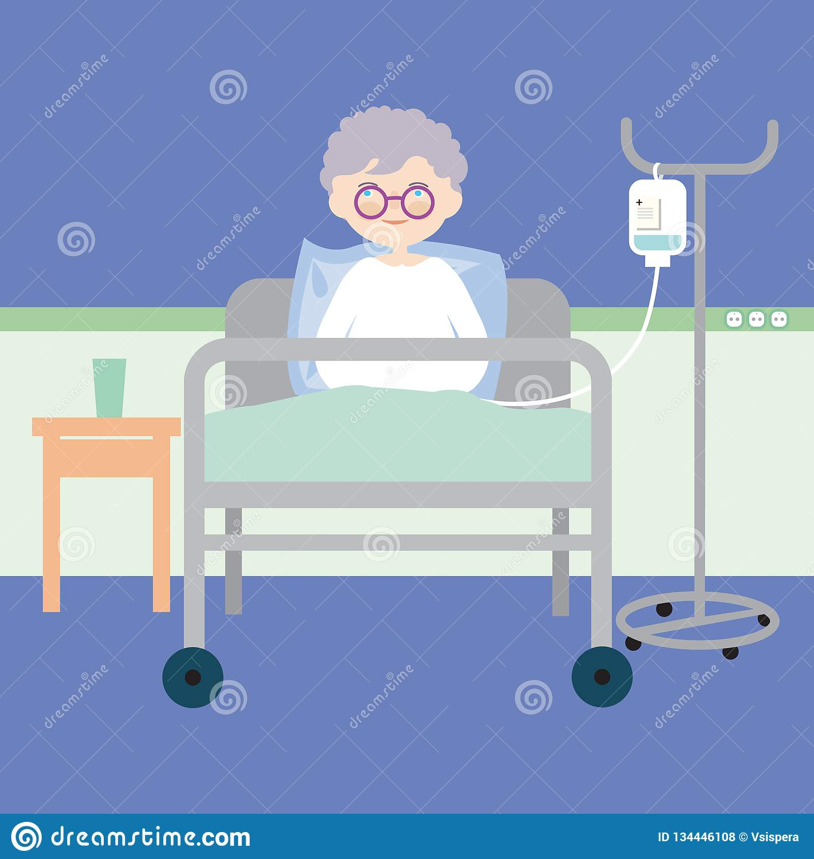 Old woman lying in bed at hospital and having an intravenous injection or artificial nutrition, vector