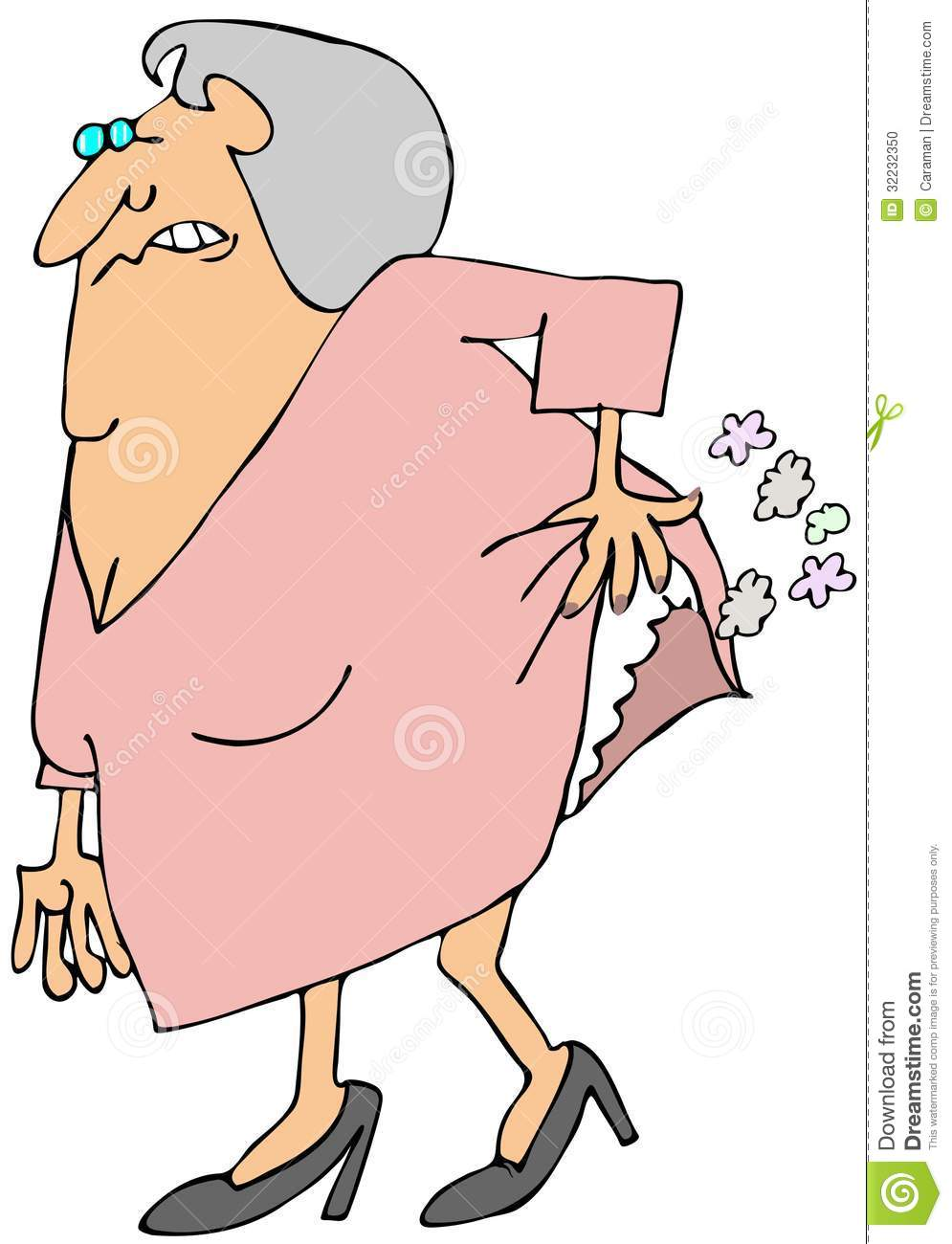 This illustration depicts an old woman hiking her dress to break wind.