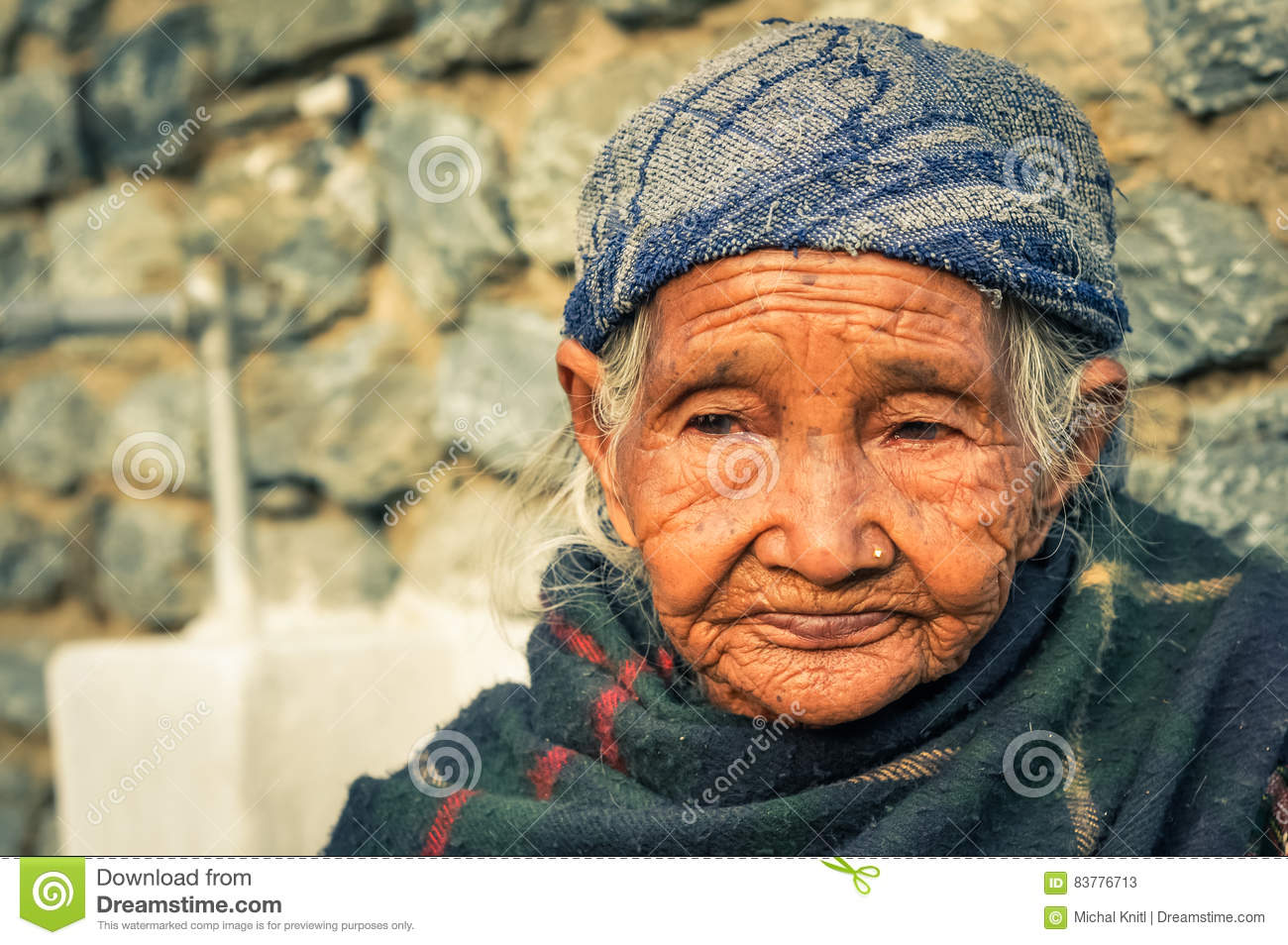 Old Woman With Piercing In Nose In Nepal Editorial Stock Photo