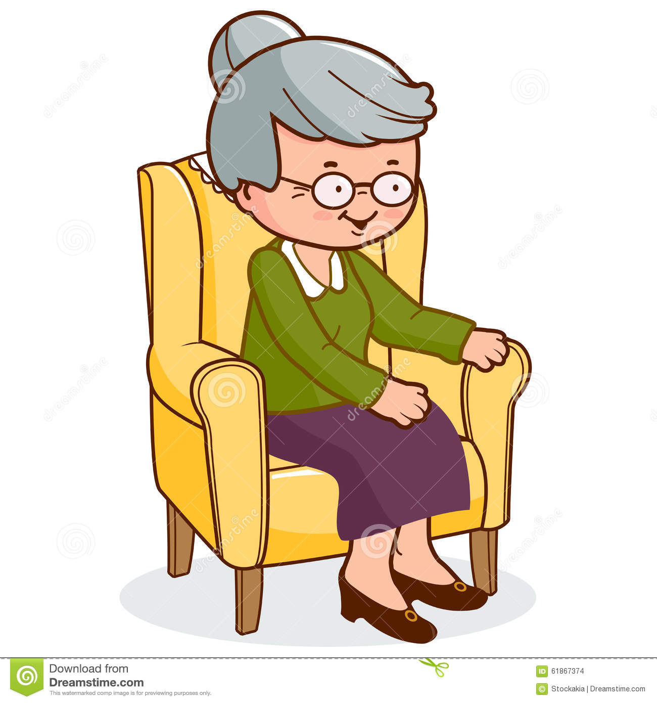 Old woman sitting in armchair stock vector image 61867374 for Sitting in armchair