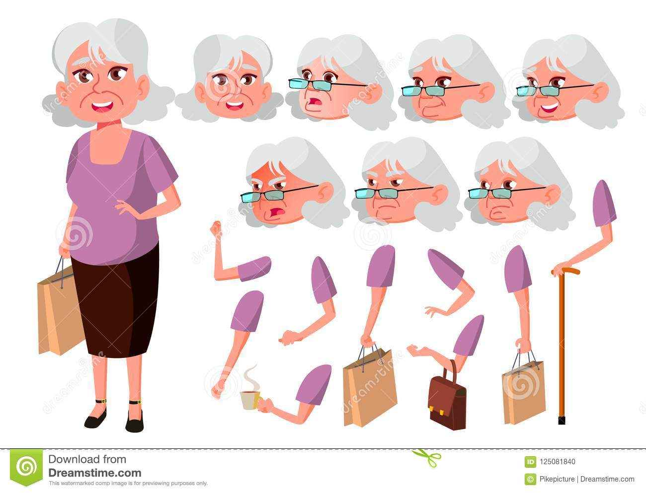 Image of: Couple Old Woman Vector Senior Person Aged Elderly People Cute Comic Dreamstimecom Old Woman Vector Senior Person Aged Elderly People Cute Comic