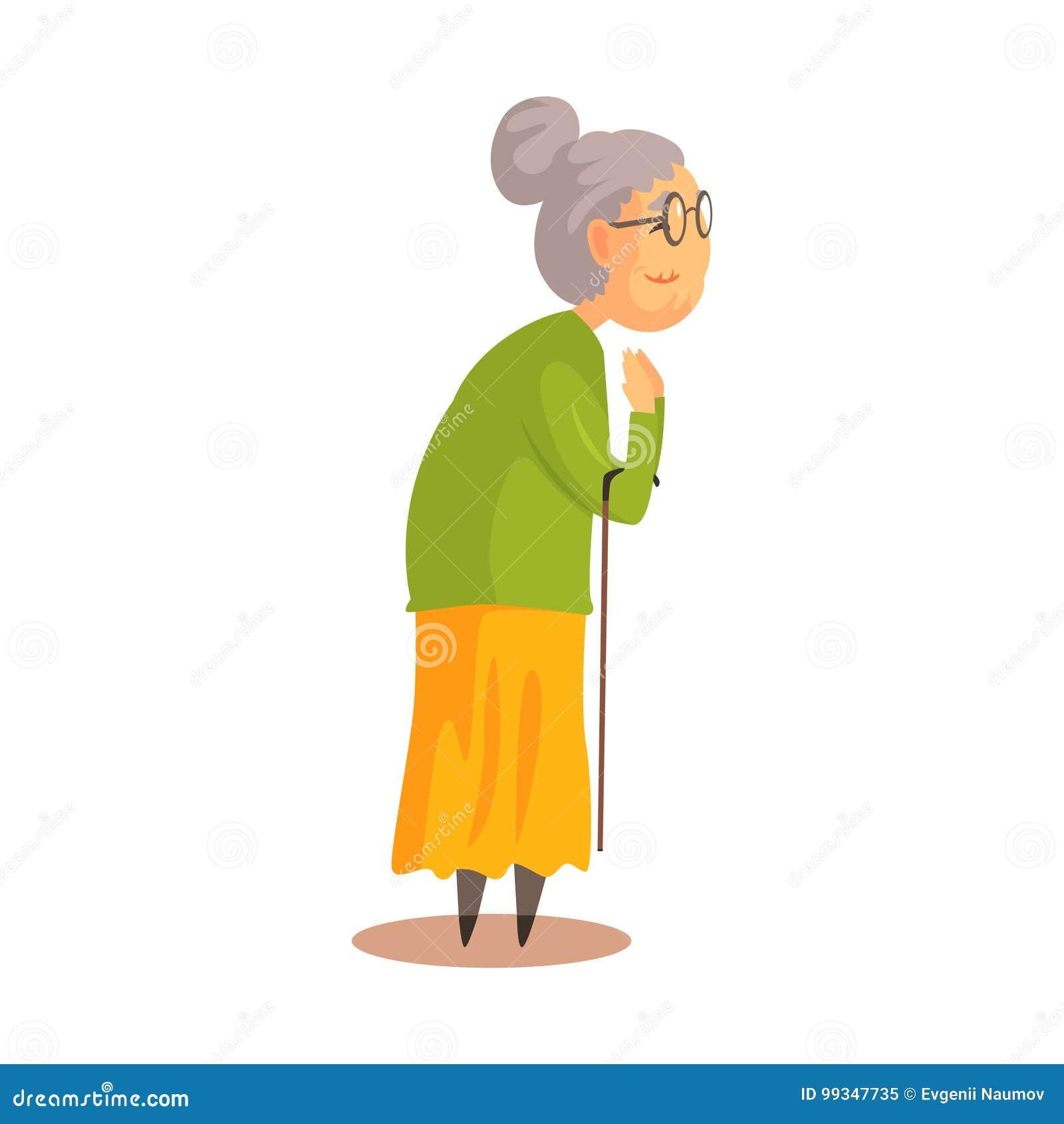 Funny Cartoon Old Grandma Granny Illustration Stock
