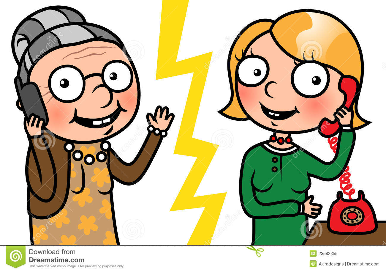 Young And Old Cartoon Old Woman And Young Wo...