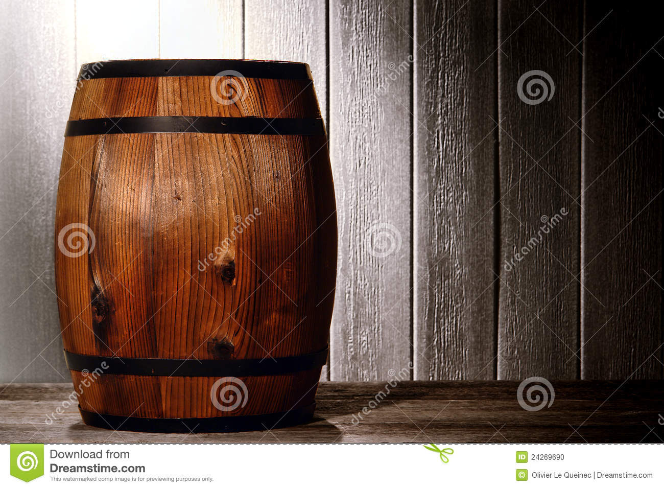 Old Wood Antique Whisky Barrel In Aged Warehouse Stock