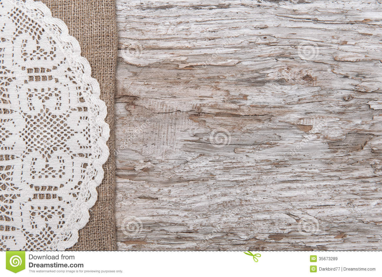 Old Wood Bordered By Burlap And Lacy Cloth Royalty Free Stock Images