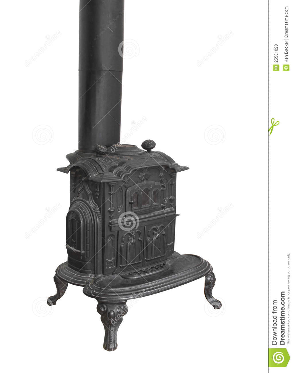 Old Wood Burning Heater Stove Isolated Royalty Free Stock