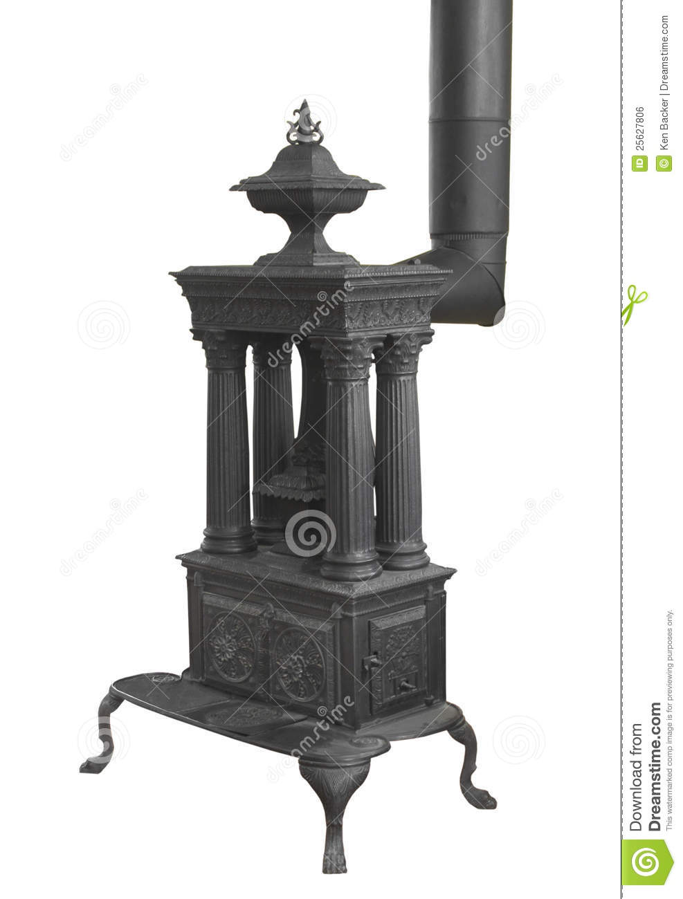 Old Wood Burning Heater Stove Isolated Stock Photo Image