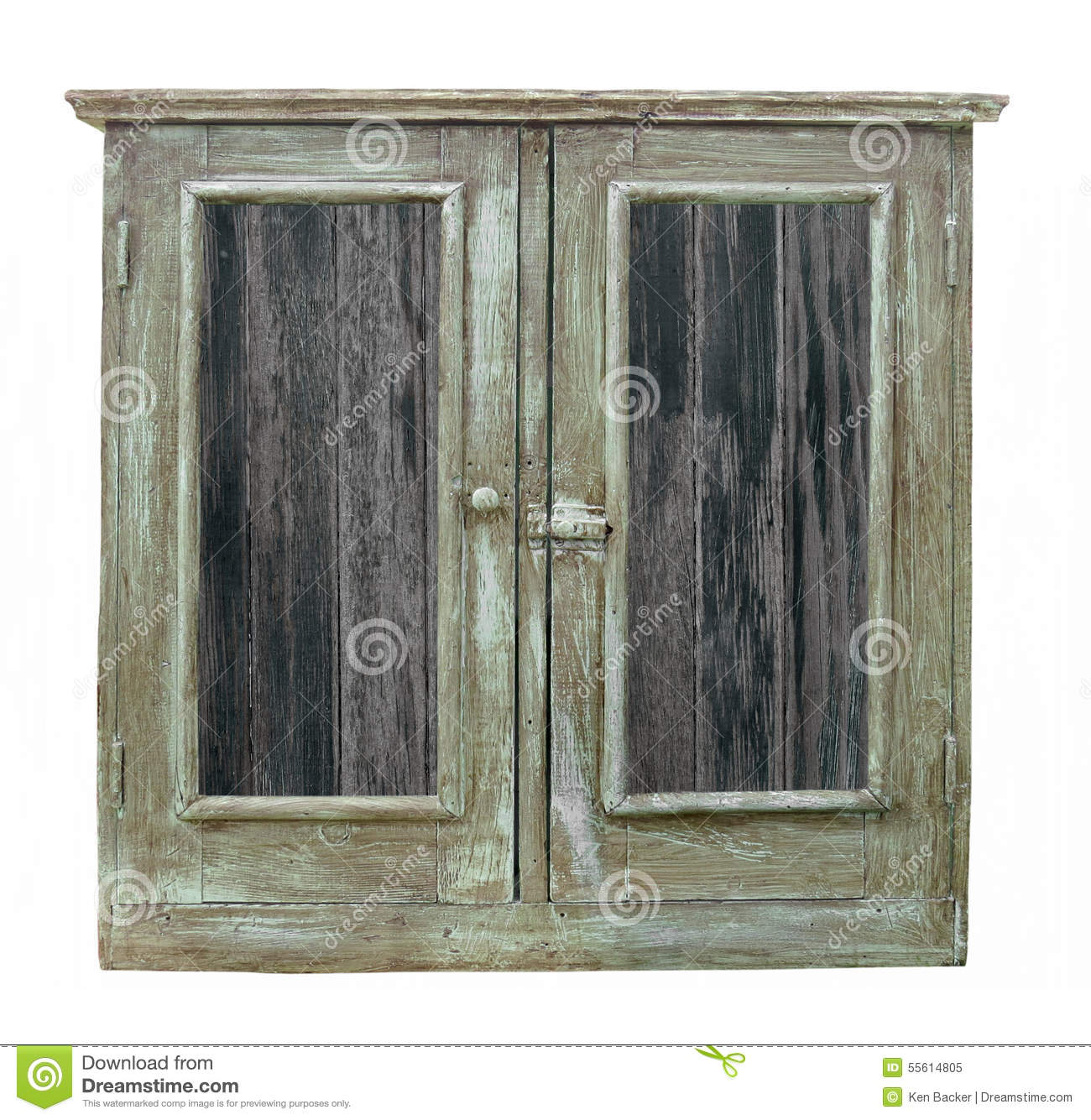 Old Wood Cabinet With Doors Isolated Stock Photo Image