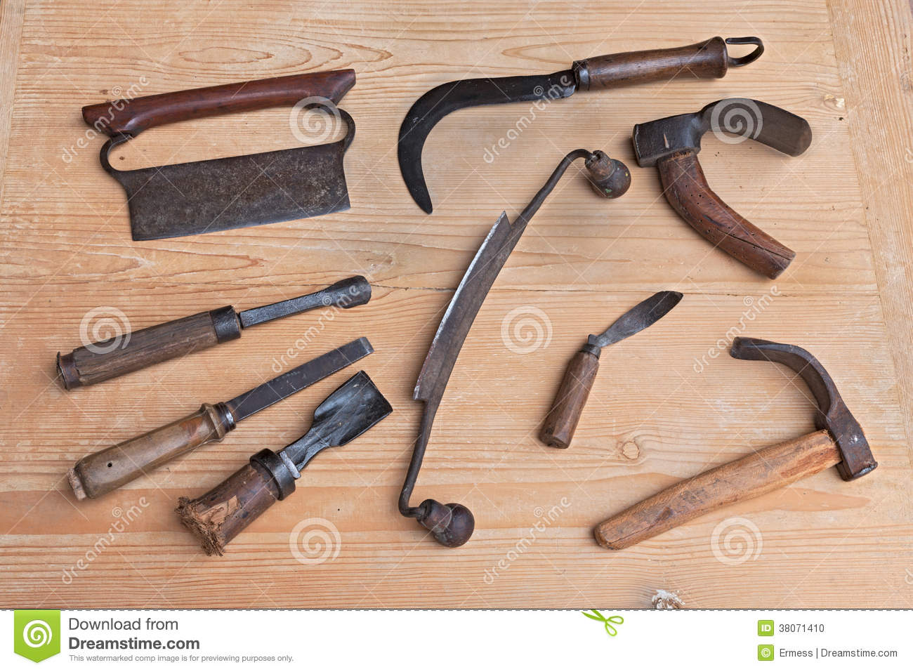 old wood carving tools stock photo image 38071410. Black Bedroom Furniture Sets. Home Design Ideas