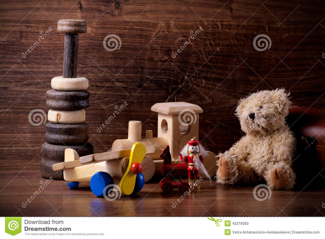 Old Wood Children Toys With Teddy Bear Stock Photo - Image ...