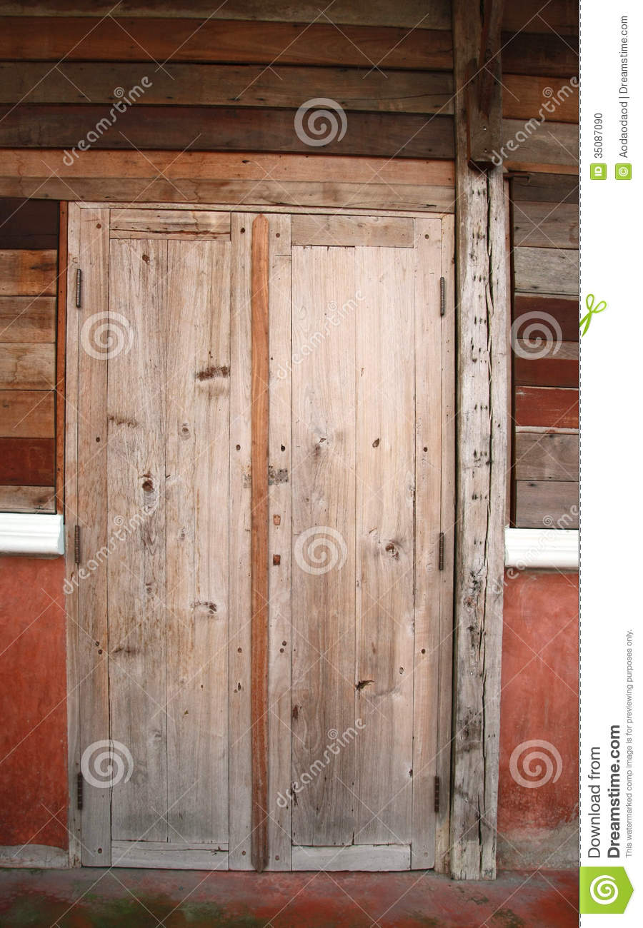 Old Wood Door And Plank Wall Stock Photo Image Of
