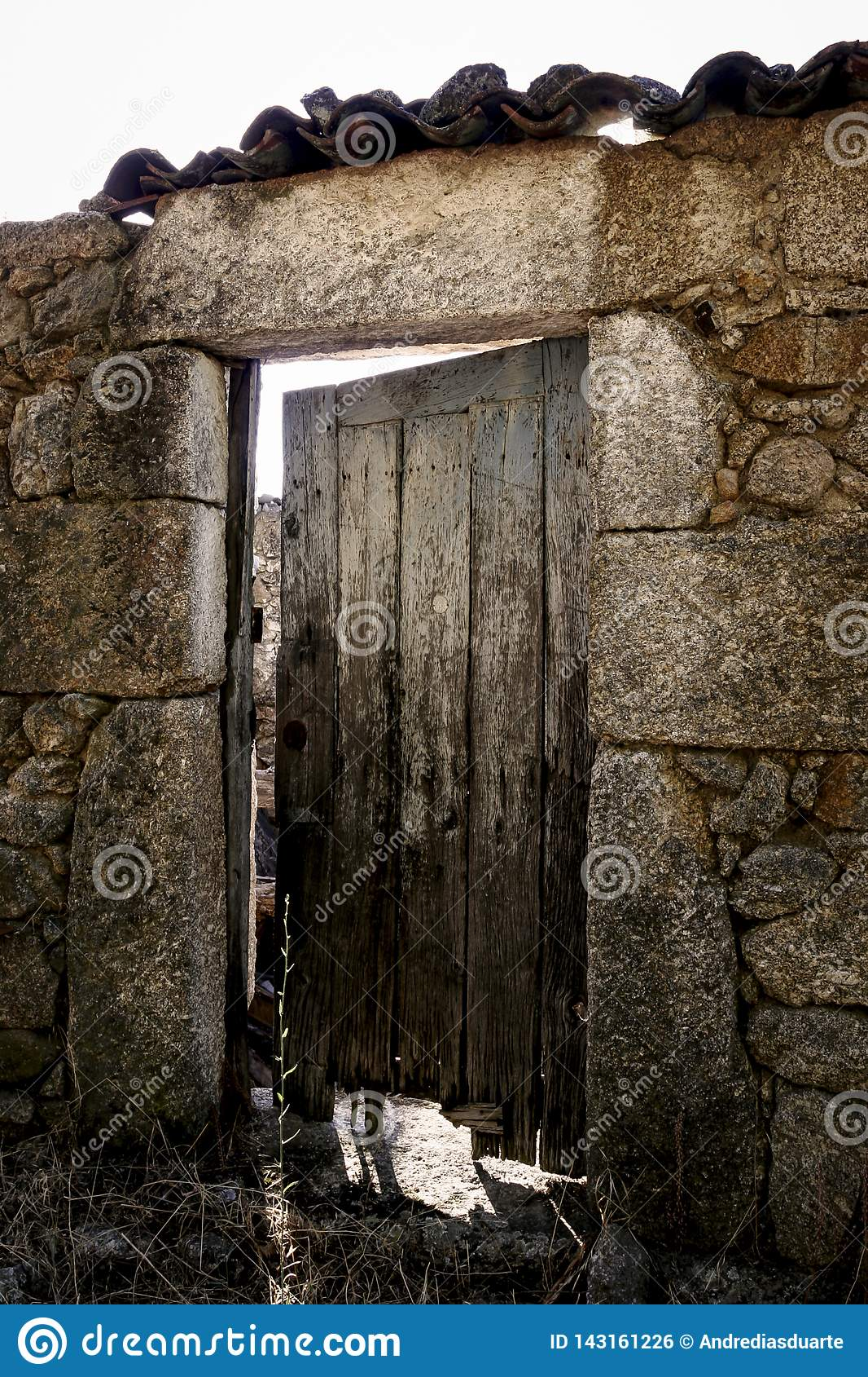 Old wood door on a stone building
