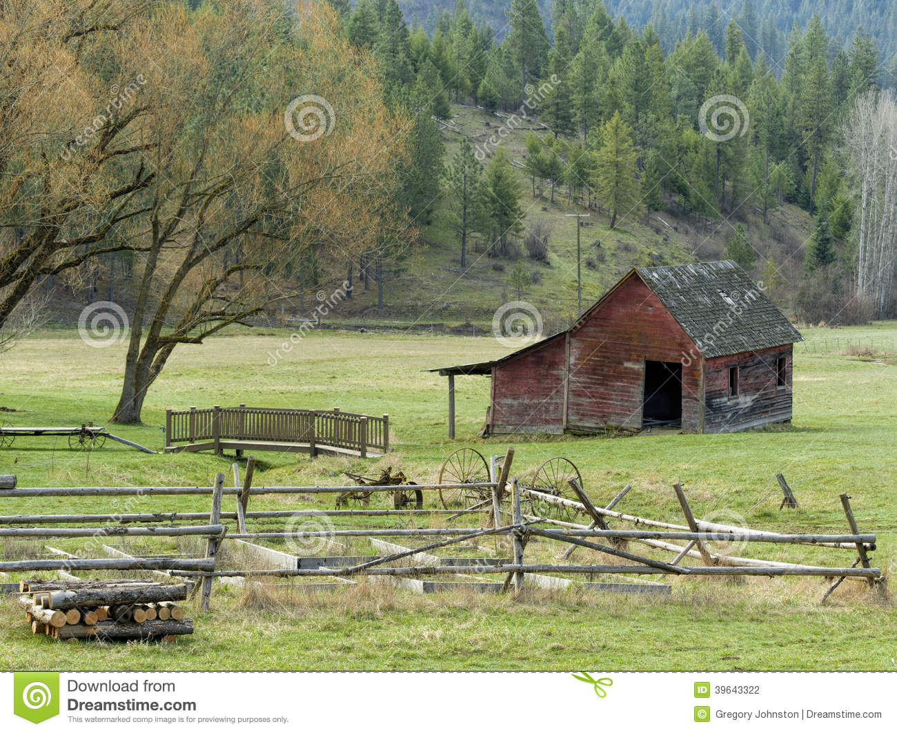 Old Wood Fence And Barn Stock Photo Image Of Roof