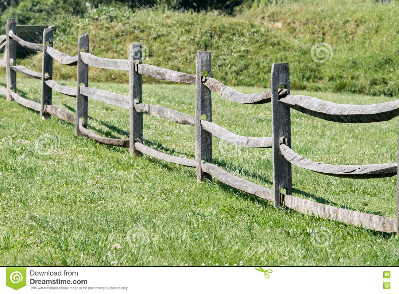 Download Old Wood Fence On Green Grass Background Stock Photo   Image Of  Scenic, Background