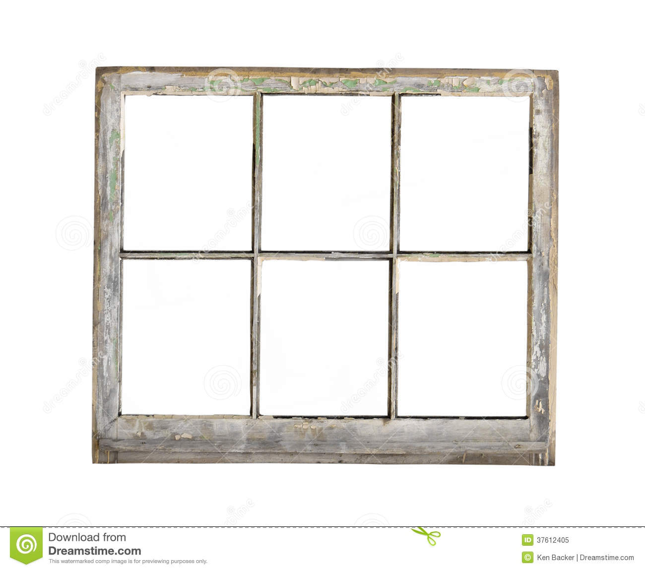 Old Wood Frame Window Isolated Royalty Free Stock Photo