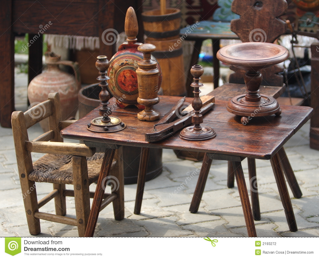 Old wood furniture items stock photo image of swap for Used antique furniture