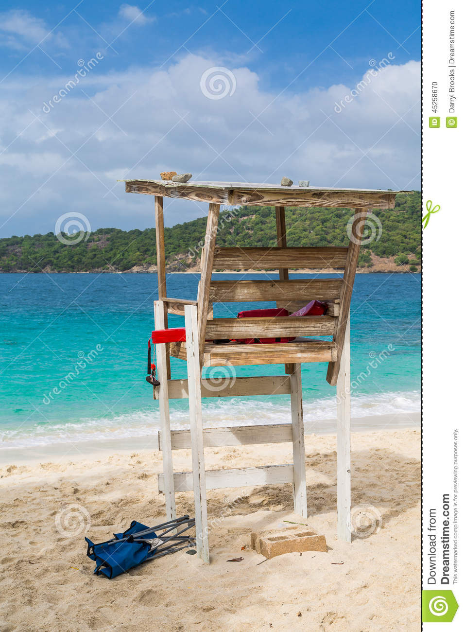 Old Wood Lifeguard Chair Stock Photo Image 45258670