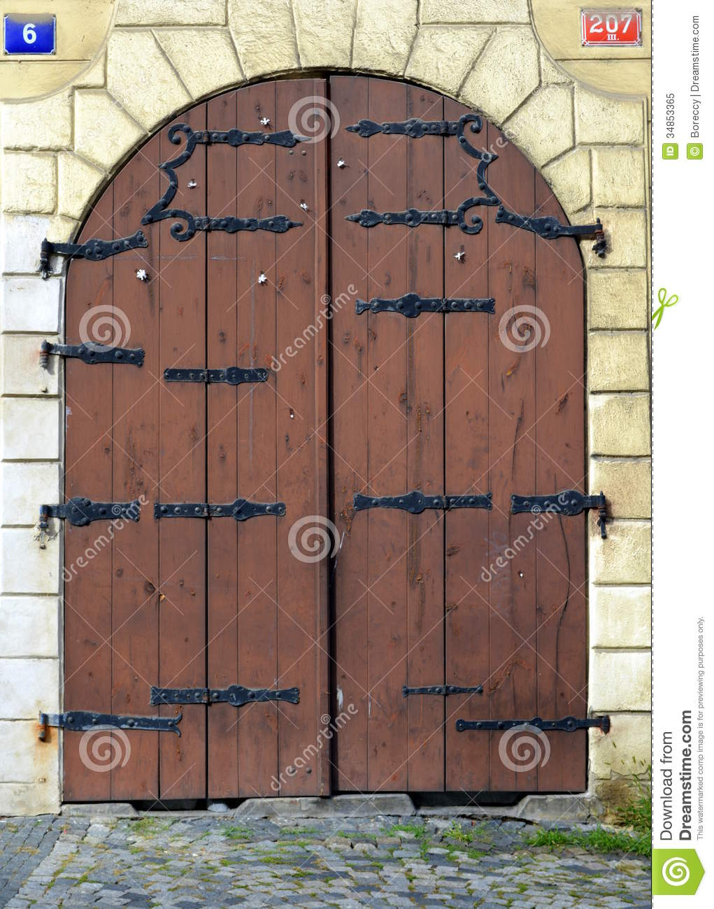 Genial Old Wood And Metal Iron Closed Door, Prague
