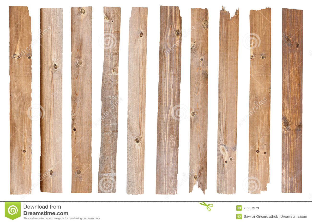 Set Of Old Wood Plank Isolated On White Background (Save Paths For Design  Work)