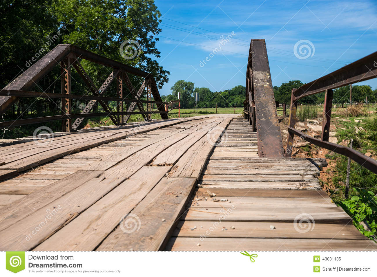 Old wood plank bridge stock photo image