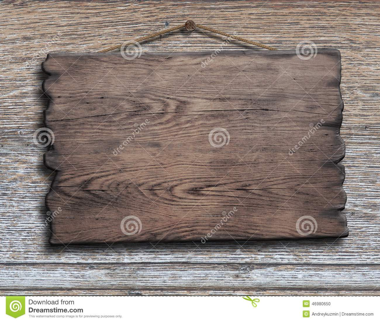 Old Wood Plank Or Plate Hanging On Timber Plank Stock