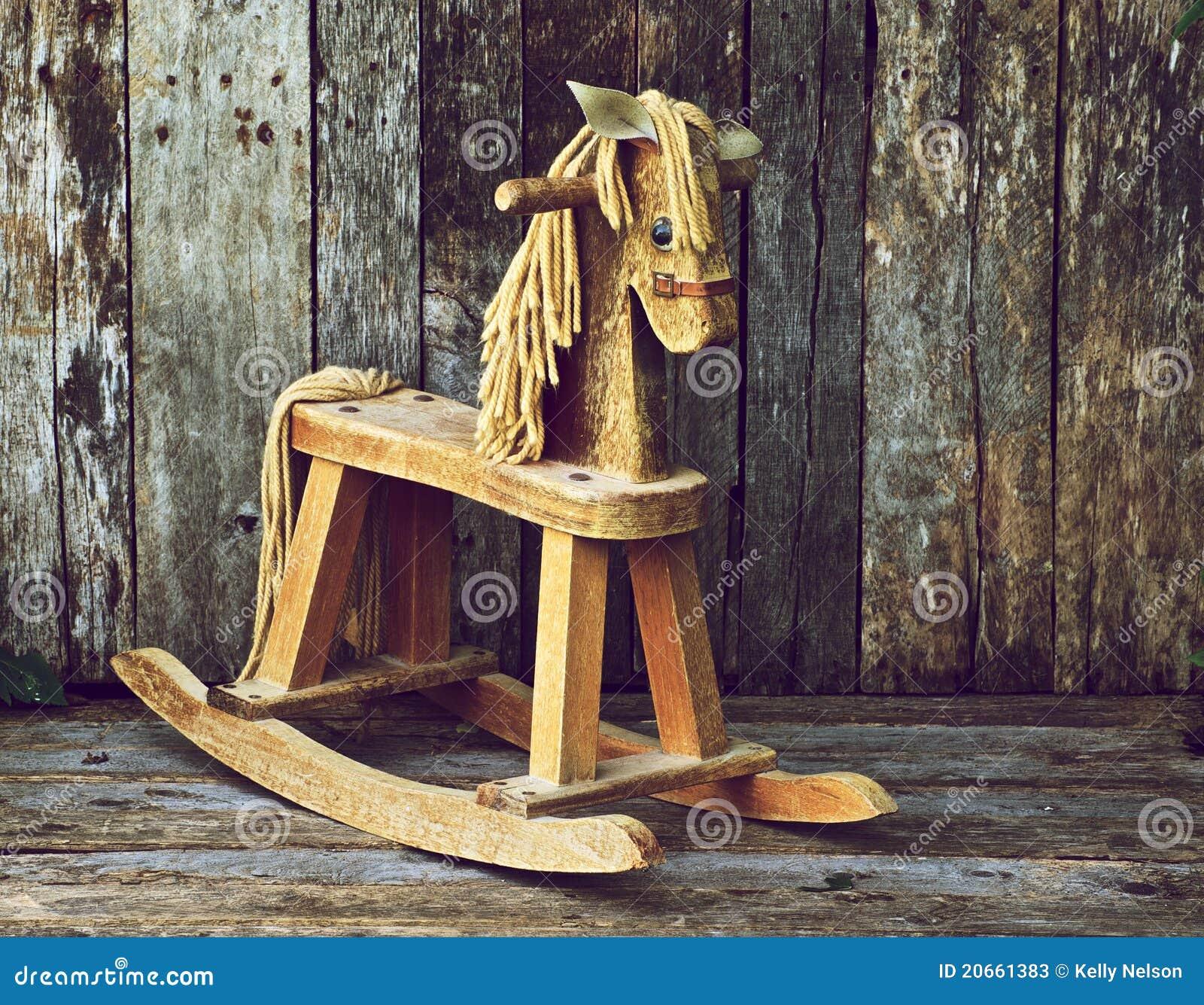 Old Wood Rocking Horse On Wood Stock Photos Image 20661383