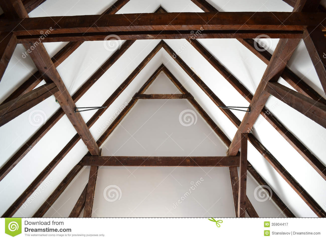 Old wood roof construction stock image. Image of materials ...