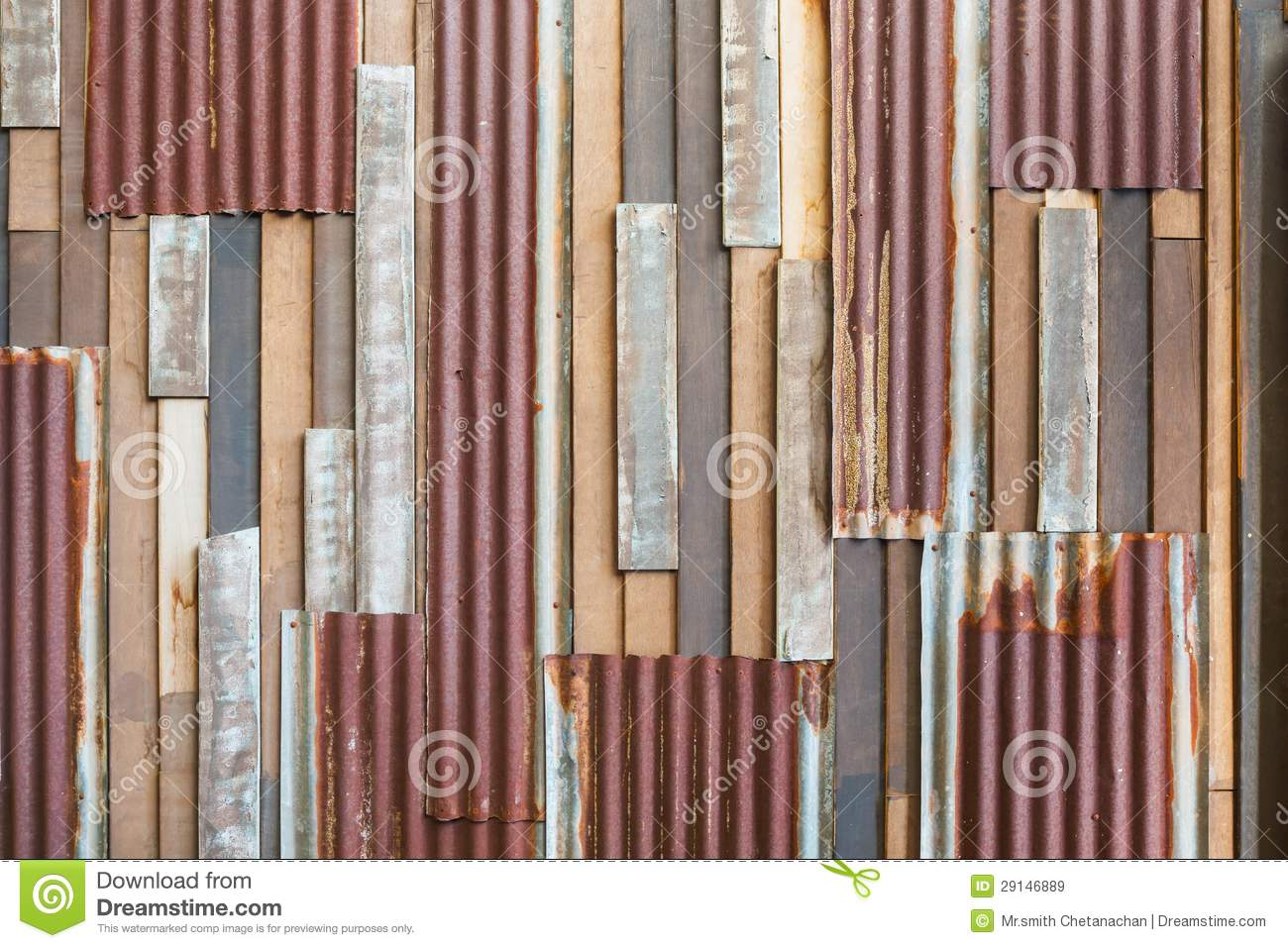 Old Wood And Rusty Roofing Sheet Wall Royalty Free Stock