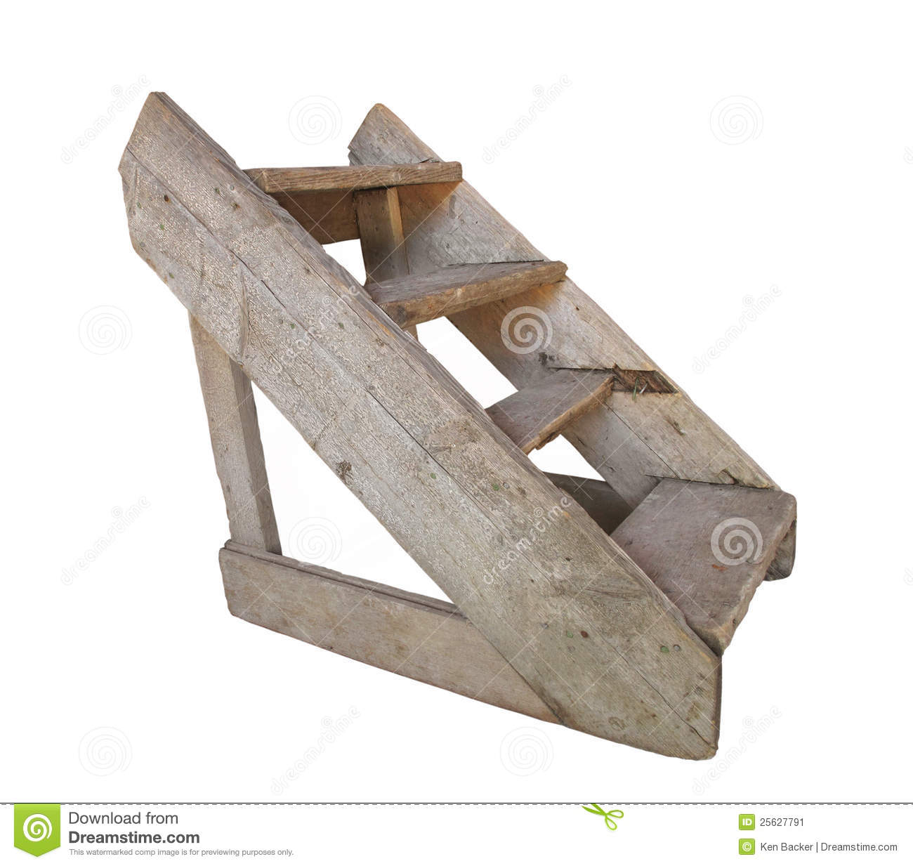 Old Wood Set Of Steps Isolated Stock Image Image Of