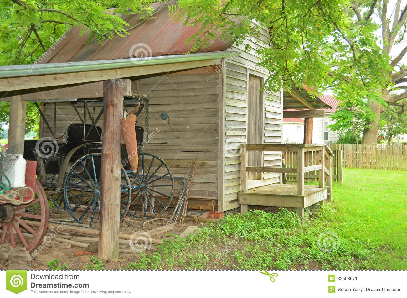 Old wood shed antique horse carriage stock image image 32508671