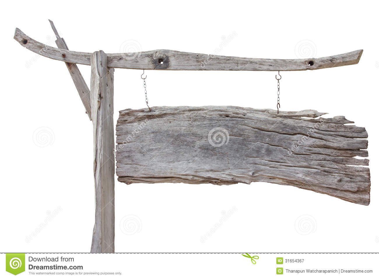 Old Wood Board ~ Old wood sign board hanging with chain isolated on white