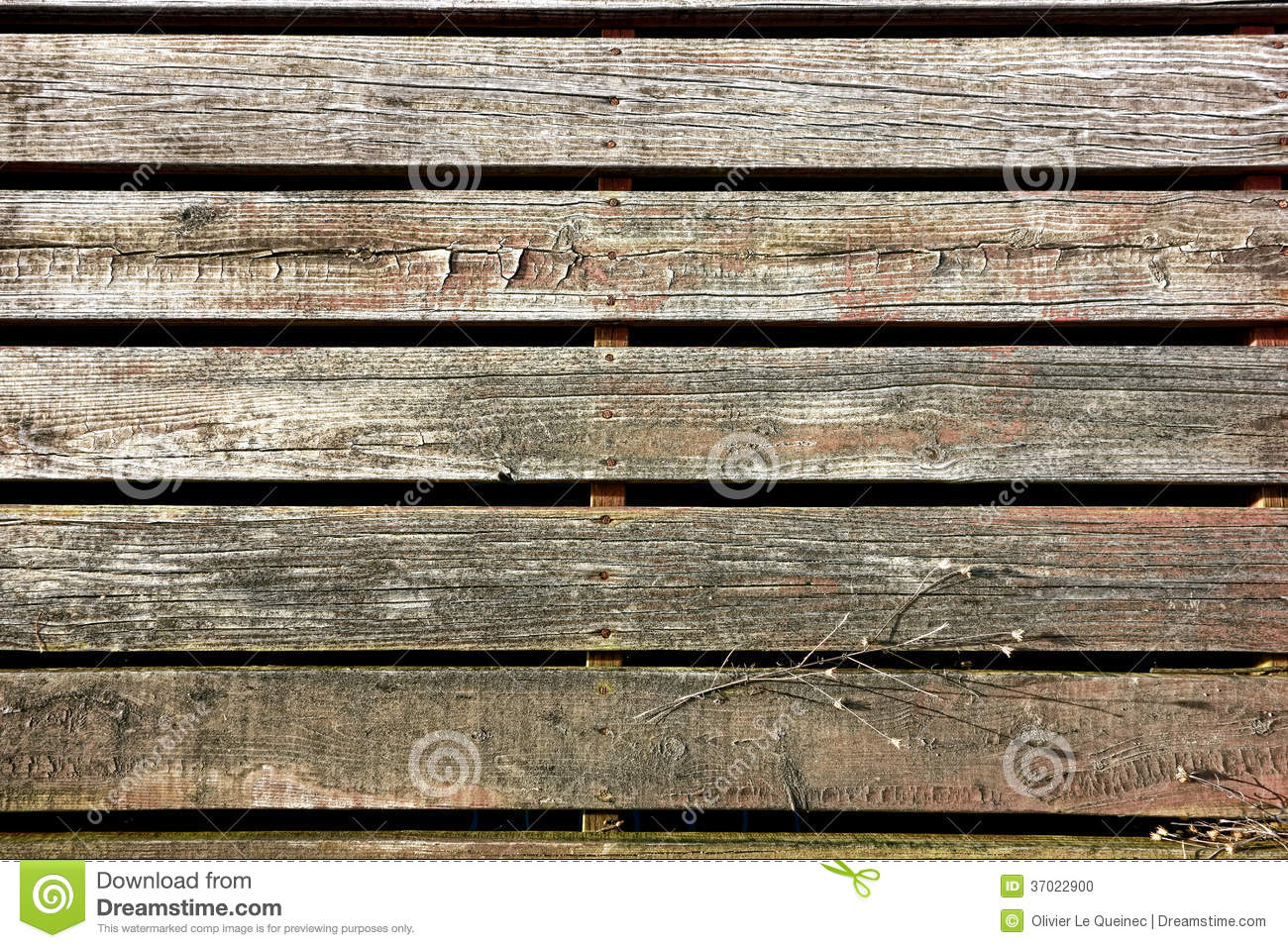Old Wood Board ~ Old wood slat sidewalk boardwalk in antique town stock