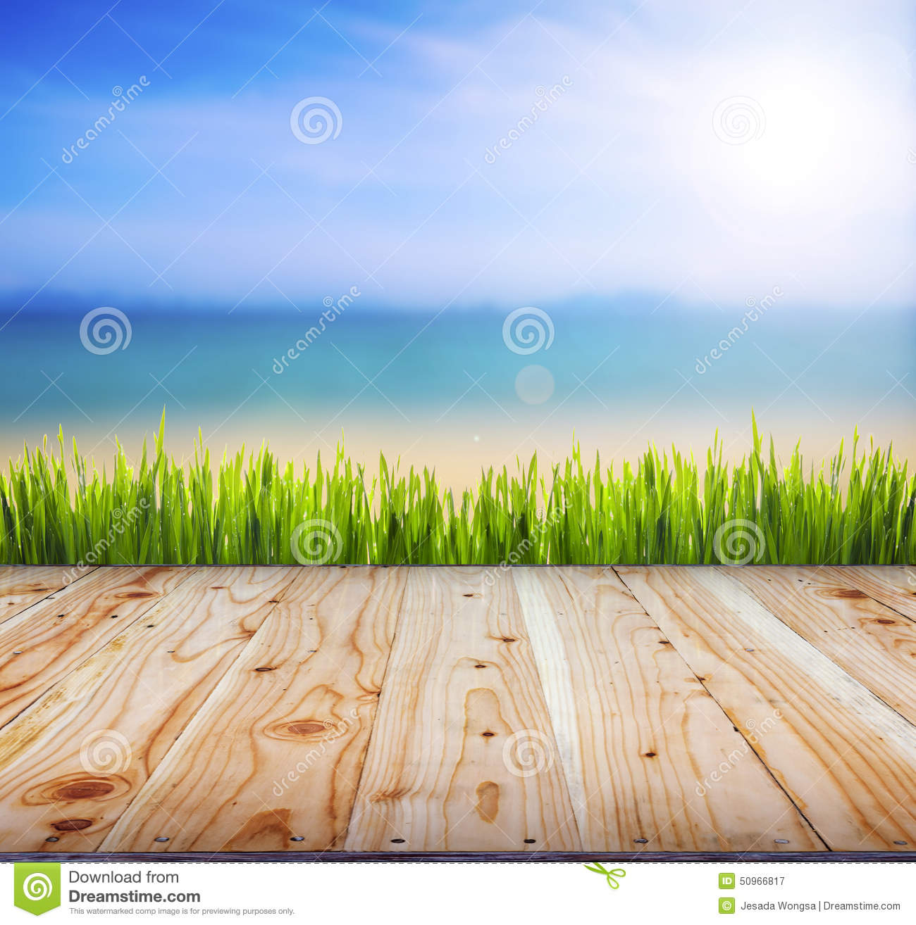 Wood Floor On Beach Sea And Blue Sky For Background Stock: Old Wood Texture Background Floor Surface . Stock Image