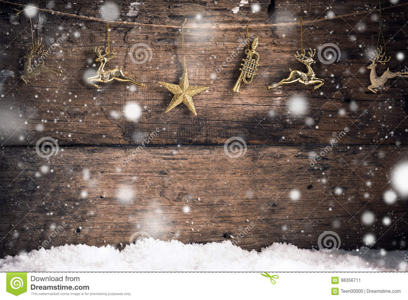 Download Old Wood Texture Gold Star , Gold Reindeer And Decoration  With Snow Flakes Christmas Background Stock Image - Image of celebration, greeting: 98356711