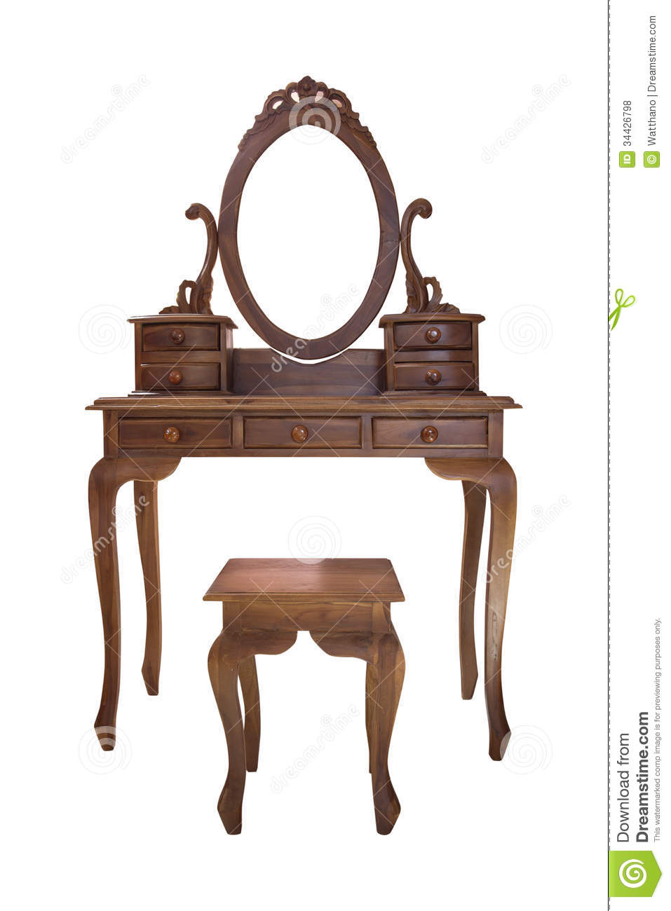 Old Wood Vanity Table And Chair Royalty Free Stock Photos