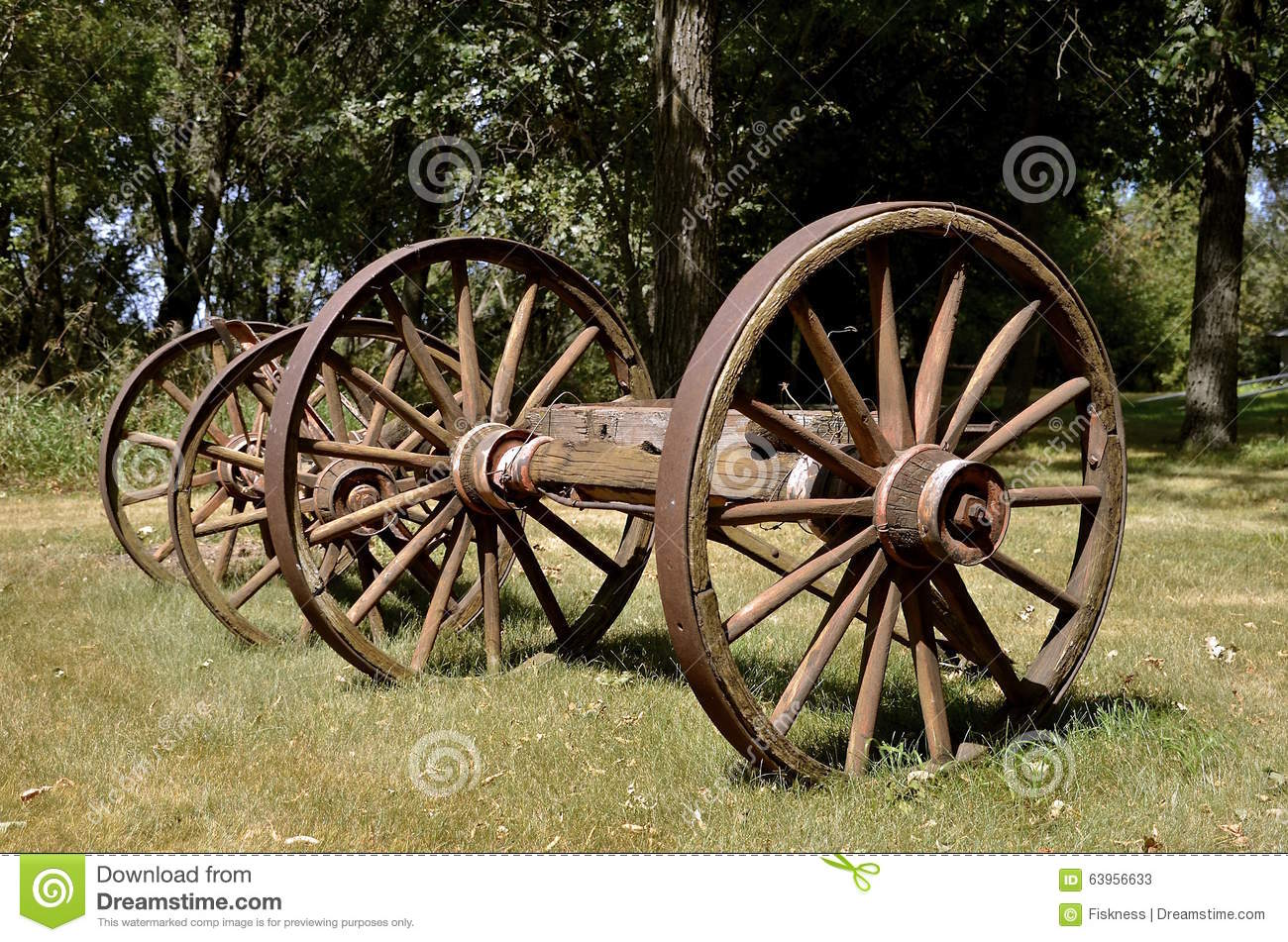 Old Wood Wagon Wheels Stock Image. Image Of Wooden, Axle