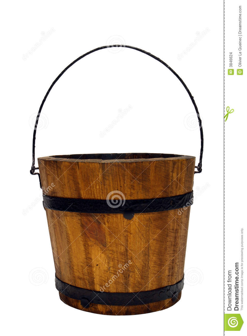 Old Wood Water Bucket With Handle Isolated Stock Images