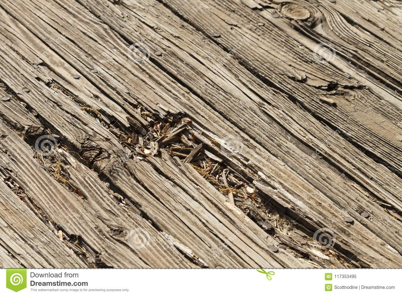 Old Wood Weathered Patio Deck Boards Damaged