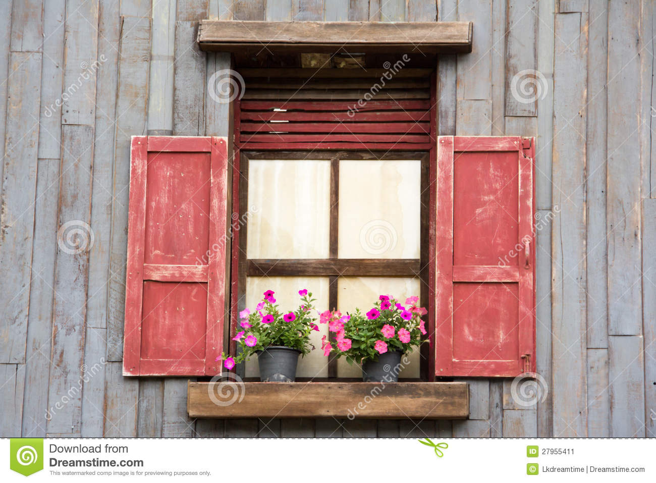 Old Wood Window With Flower Stock Image Image 27955411