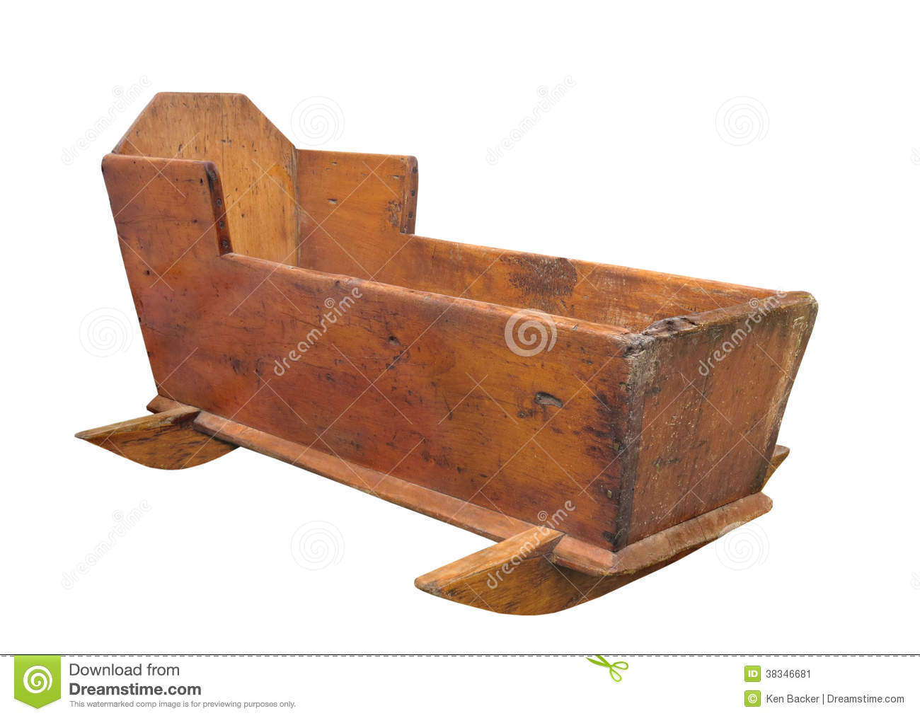 Old Wooden Baby Crib Isolated. Stock Image - Image: 38346681