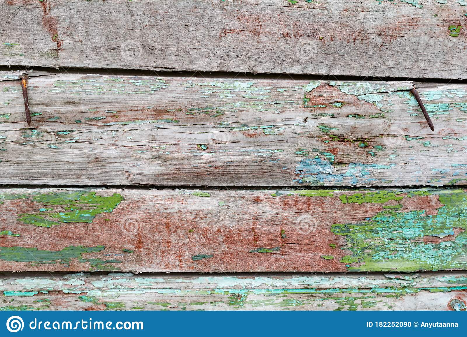 Old Wooden Background With Peeling Paint Vintage Boards With Blue And Green Coating Aquamarine Shades On Brown Stock Photo Image Of Rough Long 182252090