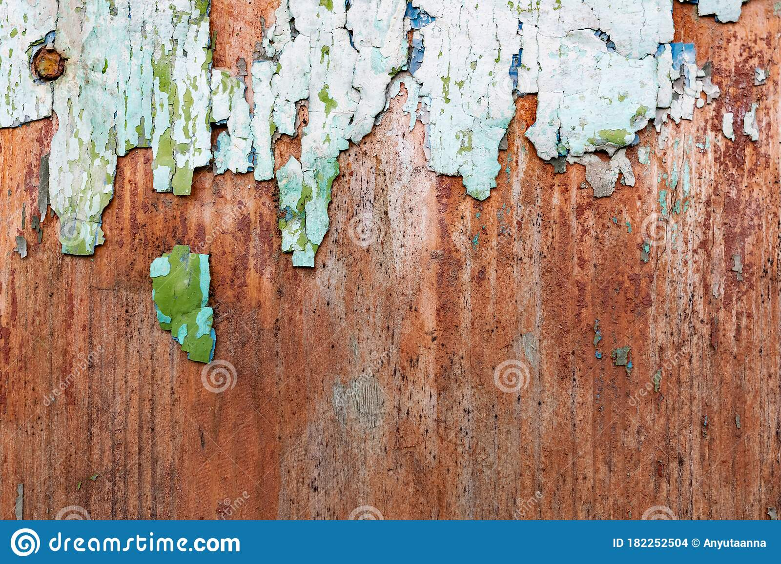 Old Wooden Background With Peeling Paint Vintage Boards With Blue And Green Coating Aquamarine Shades On Brown Stock Photo Image Of Fashion Long 182252504