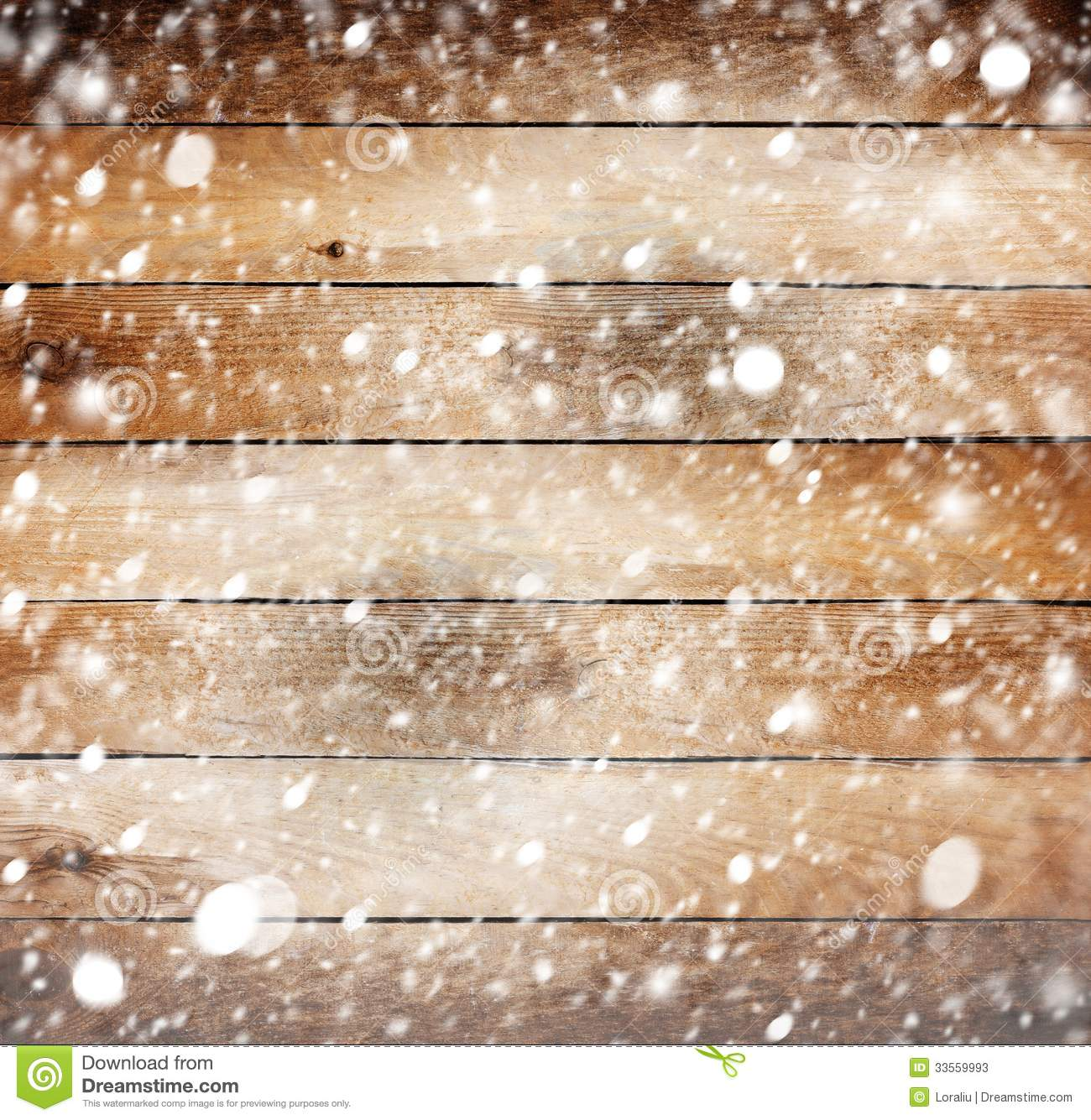 Old Wooden Background With Snow Stock Photos Image 33559993