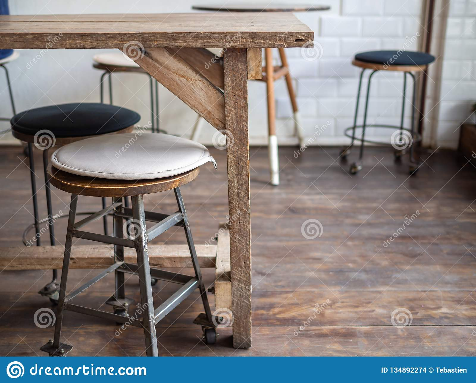 Old Wooden Bar Stools On Wooden Floor In Cafe Retro Style Stock Photo Image Of Decor Decoration 134892274