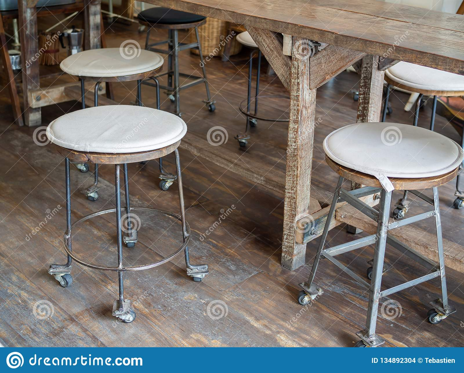 Old Wooden Bar Stools On Wooden Floor In Cafe Retro Style Stock