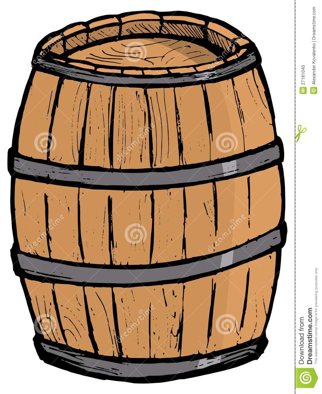 Old wooden barrel stock photo image 27181040 - Tonneau dessin ...