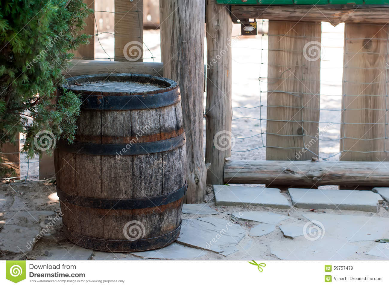 Old Wooden Barrels For Decoration Stock Image Image Of Staves