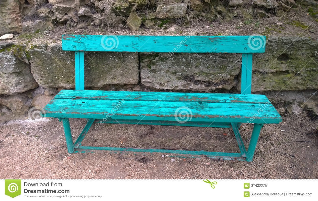 Picture of: Old Wooden Bench With Peeling Paint Green Color Stock Image Image Of Object Bright 87432275