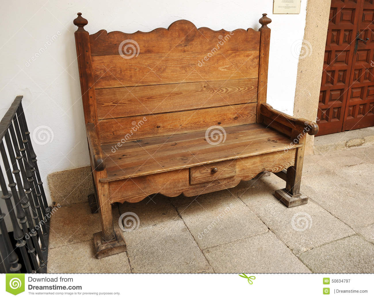Old wooden bench spain stock photo image 50634797 - Resource furniture espana ...