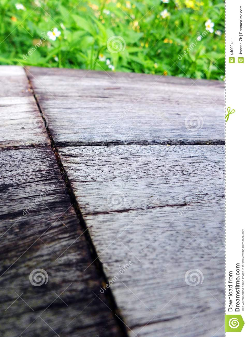Old Wooden Bench Texture, White Flowers Stock Image